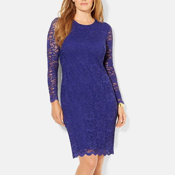 2986ad418ba8 Stretch Floral Lace Sheath Scallop Trim Dress 18W